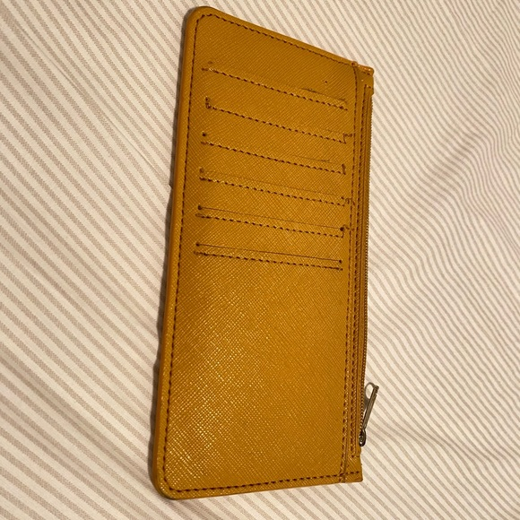 mustard yellow large card case w/ coin zip closure
